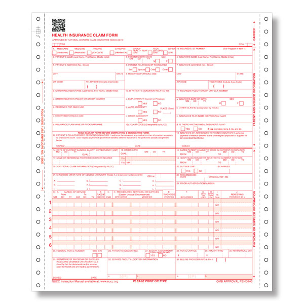 1b - CMS 1500 INSURANCE CLAIM FORM - Ver 02/12 - CONTINUOUS FORMAT ...
