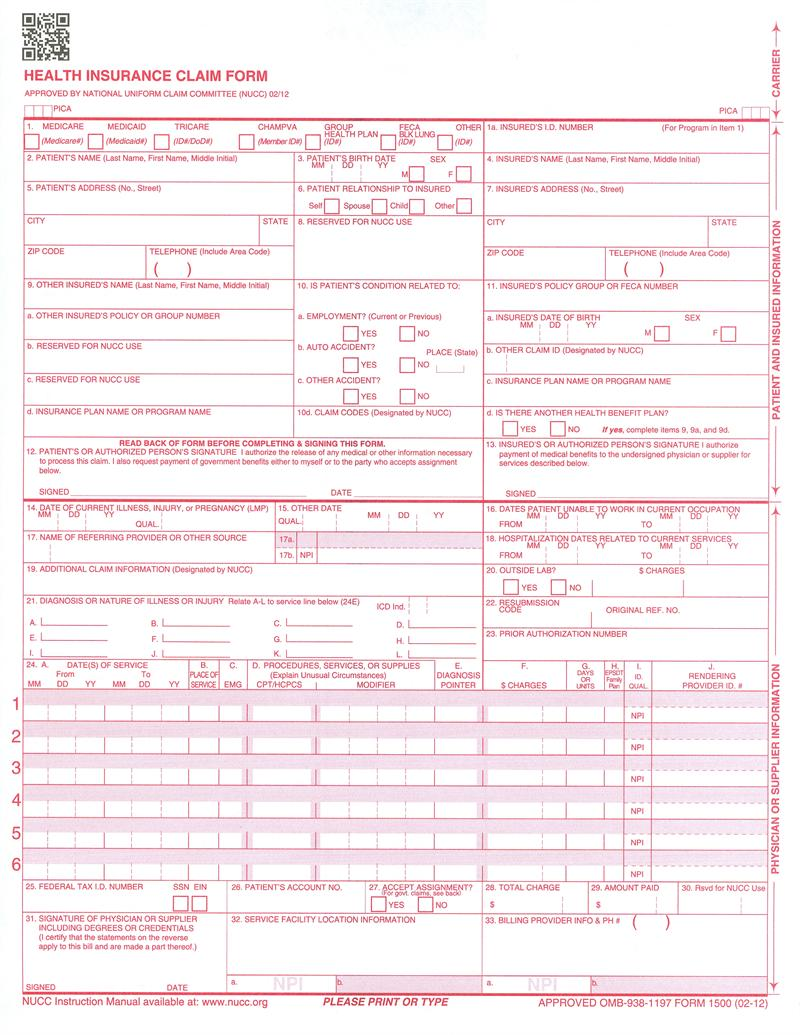 CMS Insurance Claim Forms
