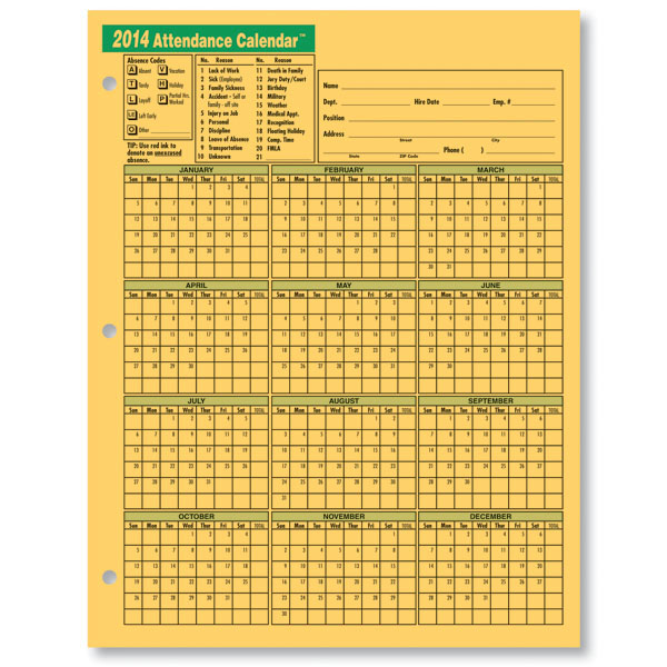 Printable 2014 Employee Attendance Calendars Free Free | Auto Cars