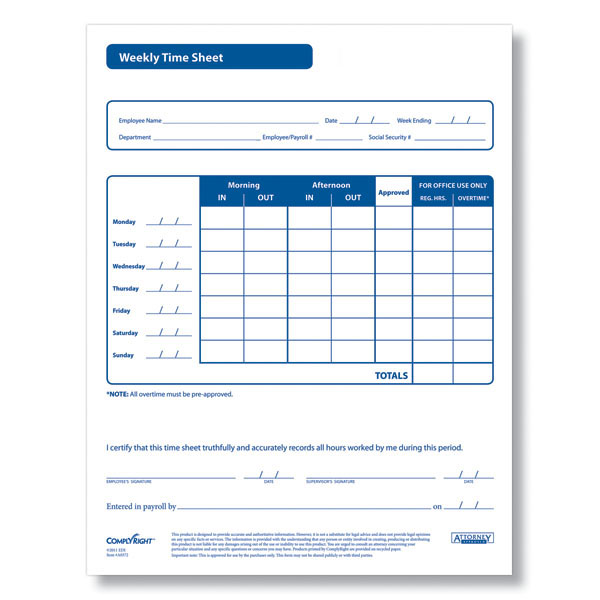 weekly time sheet ar0372